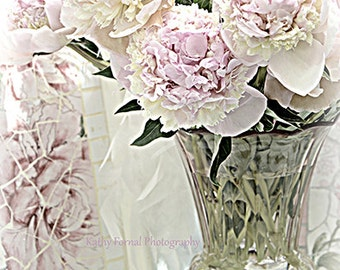 Pastel Peonies Photography, Dreamy Pink Peonies French Market, Pink Peonies Floral Home Decor, Shabby Chic Romantic Pink Peonies Wall Art