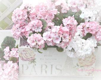 Shabby Chic Flower Photography, Pink White Summer Garden Flowers, Dreamy Pink Flower Prints, Shabby Chic Decor, Romantic Pink Flowers Prints
