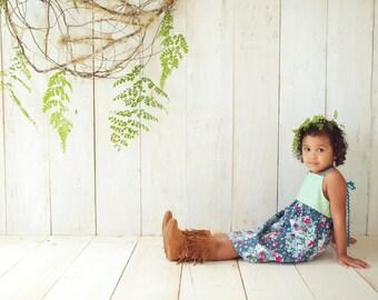 SALE Children's Clothing - Girl's Dress 'Sweet Reverie' Green, Floral, Teal Ric Rac straps - Quality Handmade Girl's Dress