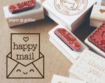 Happy Mail Rubber Stamp Kawaii Envelope 0049