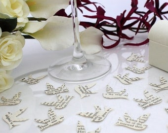 Paper swallow bird wedding confetti- 200 ivory vintage story book pages die cut punched birds 3cm by 3cm- Great romantic table decoration