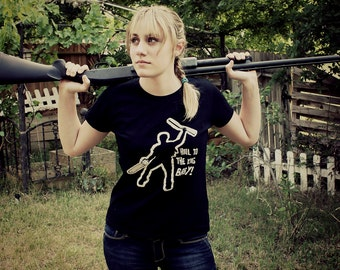 HAIL to the KING inspired women's black white Army the S M L xl tshirt of evil Shirt ash zombie apocalypse cult dead chainsaw shotgun NEW