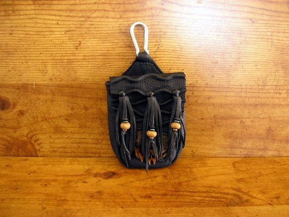 "Black leather cell phone bag, 4.75"" x 3.25""  x  1.25"" deerskin, beaded fringe, pheasant feathers, magnetic snap, spring clip and belt loop"