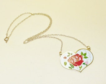 Vintage Painted Floral Heart Necklace DEADSTOCK