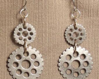 Steampunk gear earrings, mixed metals. 061419