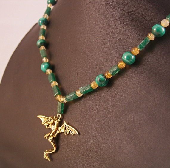 Daenerys Targaryen Inspired Dragon Gemstone Necklace