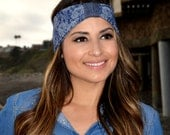Jeans with Lace Print Stretchy Headband, Sailor Turban, Nautical Headband, Denim