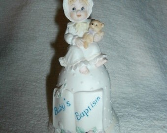 Baby Bisque Bell~ Ornament Figurine ~ Gift ~  Vintage Enesol  Baptism Bell