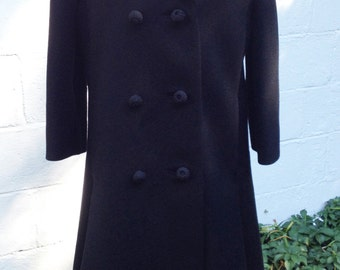 Vintage 1950s  Black Extra Heavy WooL Coat From Bonwit Teller, New York. A-line. Large. Pea Coat.