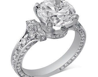 9mm Round cut Charles and Colvard Moissanite & Diamonds Engagement Ring