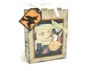 Trick Or Treat Bag | Small Brown Paper Goodie Bag Decorated for Halloween