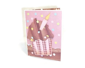 Handcrafted Cupcake Birthday Card