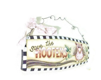 Breast Cancer Awareness Hand Painted Lettered Sign With Owl Theme |  Save The Hooters