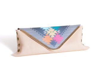 Printed Leather Clutch Envelope Purse Southwestern Inspired Aztec & Arrow Symbol in Gray Turquoise Yellow and Pink with Stripes