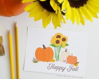 Fall Art, Fall Decor, Happy Fall, Seasonal Decor, Autumn, Hand Drawn, Illustration, Thanksgiving, Pumpkins, Sunflowers, Art Print, leaves