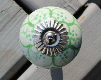 White Ceramic Drawer Knobs - Cabinet Knobs - Dresser Knobs Light Green Pattern (CK01)