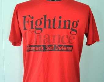 Near Burnout Vintage Tshirt Womens Self Defense Fighting Chance MMA Karate Simple Tee Red SMALL