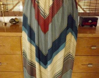 Vintage 70s Chevron boho hipster Midi Skirt M Free Shipping