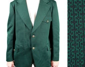 Mens Vintage Blazer 42R 70s Green Black Funky Jacket Sports Coat Disco Costume Free US Shipping