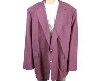 Mens Vintage Blazer 54PL Mauve Purple Wool Blend Sports Coat Jacket 54L Portly Free US Shipping