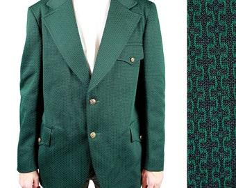 Mens Vintage Blazer 42R 70s Green Black Funky Jacket Sports Coat Disco Costume Free US Shipping