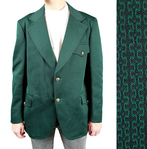 Mens Vintage Blazer 42R 70s Green Black Funky By HepCatClothes