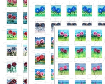 "0.75"" x 0.83""   - set of 3 - digital collage sheets - Spring flowers - instant download  - mirror images - letter size"