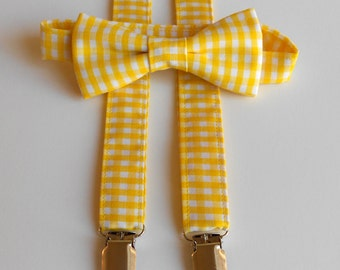 Yellow Gingham Bowtie and Suspenders        MANY COLORS AVAILABLE                      2 weeks before shipping