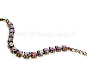 Swarovski Topaz AB Bracelet Brass Ox  - Spring Collection - by Vision of Beauty Design