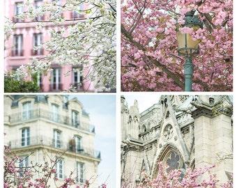 Paris Photography – April in Paris Print Set, Spring Blossoms, Large Wall Art