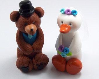 Handmade Wedding Cake Topper, Bear Groom and Goose Bride, Animal Cake Topper, Cute Wedding Cake Topper, Personalized Wedding Cake Topper