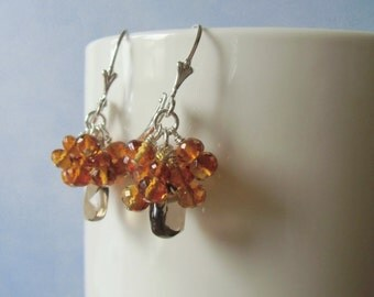 Smoky quartz briolettes, and  citrine rondelle dangle earrings