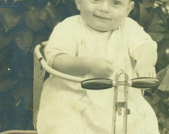 1920s Happy Baby Sitting in Metal Stroller Walker Lorena Antique Vintage Black and White Photo Photograph