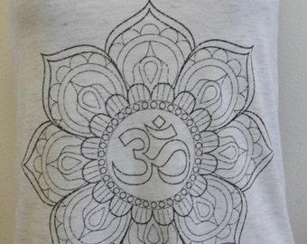 OM symbol Lotus Flower Art Print Tank Top  American Apparel XS S M L