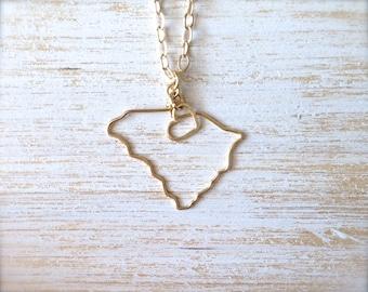 South Carolina Necklace - South Carolina State Necklace - State Jewelry - Personalized Necklace - SC State - Silver or Gold Necklace - Home