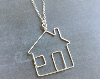 Home Necklace - House Necklace - Home Sweet Home Necklace in Sterling Silver or 14k Gold Filled - Little House Necklace -Home