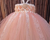 Sweet Sophistication Flower Girl Dress, shown in Peach with Ivory Lace, Vintage, Classic, Tutu Dress, Tulle Dress
