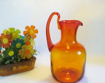 Vintage BLENKO Glass, Mid Century Modern, Glass Pitcher 656S in Tangerine