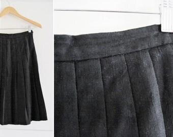 Vintage 70s Pleated Black A-Line Skirt sz Small - Medium