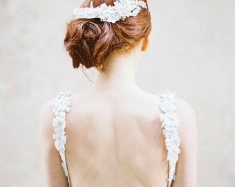 Wedding Headpiece, Bridal Headpiece, Crystal, Lace headpiece, Pearl Headpiece - Style 313