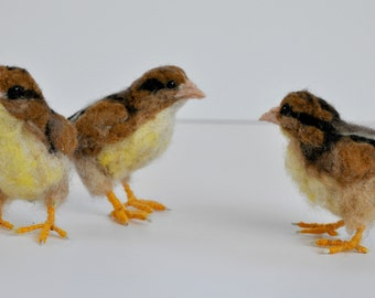 Needle Felted Bird.  Easter Chick. Soft Sculpture . Made to order