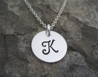 """Sterling Silver Initial Necklace- includes a 5/8"""" disc hand stamped with the initial of your choice, comes on a sterling chain, SBC2"""