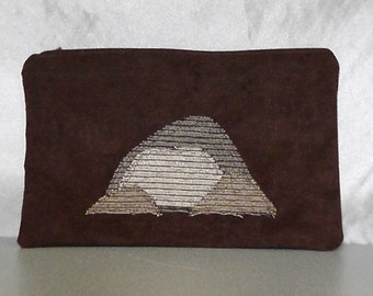 Zipper Pouch - Mountains on Brown Large Zipper Pouch Travel Bag Gift Bag Hippie Natural Upcycled