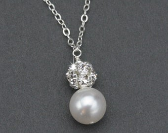 Pearl Pendant Necklace, Pearl Bridal Necklace, Wedding Jewelry for Brides, Pearl and Rhinestone Bridal Jewelry, Pearl Solitaire Necklace
