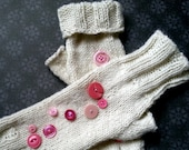 Reserved for Karen - Knitted Fingerless Gloves with Buttons - PAIR