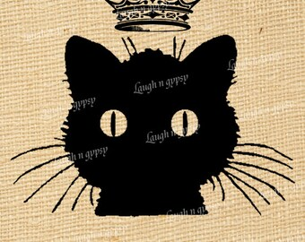 Black Cat Le Chat Noir Crown French Style Digital Image Transfer Collage Sheet Burlap or Fabric