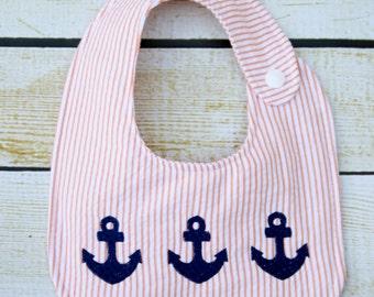 Seersucker anchor Bib, embroidered bib, anchor trio bib, Ready To Ship