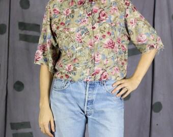 Cropped Floral Button Up Shirt - Medium