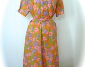 Vintage Dress Plus Size 50s 60s Dress Dead Stock Flower Print Day Dress XXL - on sale