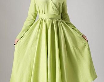 Apple Green dress woman linen dress custom made maxi dress (836)